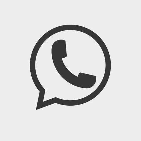 Auricular del teléfono del icono plano del vector. Icono de teléfono, teléfono en Vector icono de burbuja