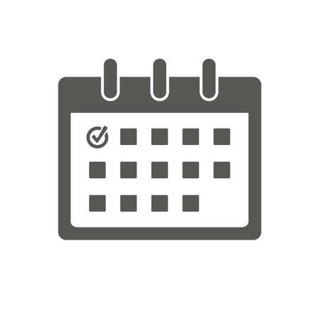 Calendar icon with check mark. Graphic elements for your design. Calendar on the wall. Vector illustration. EPS 10.