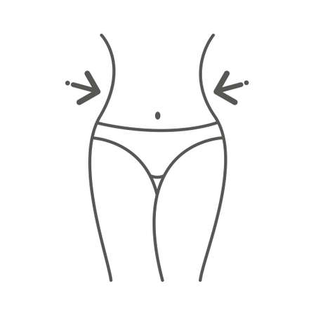 Women waist, weight loss, diet, waistline line icon. Fitness Weight Loss  Flat Icon On White Background Ilustração