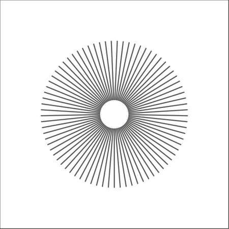 Radial lines abstract geometric element. Spokes, radiating stripes. Eps 10