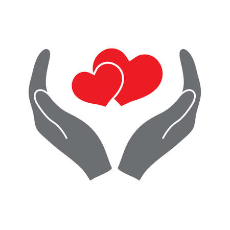 hands holding heart icon. Simple filled hands holding heart icon. On white background.
