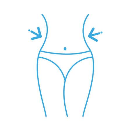 Women waist, weight loss, diet, waistline line icon. Fitness Weight Loss  Flat Icon On White Background. 向量圖像