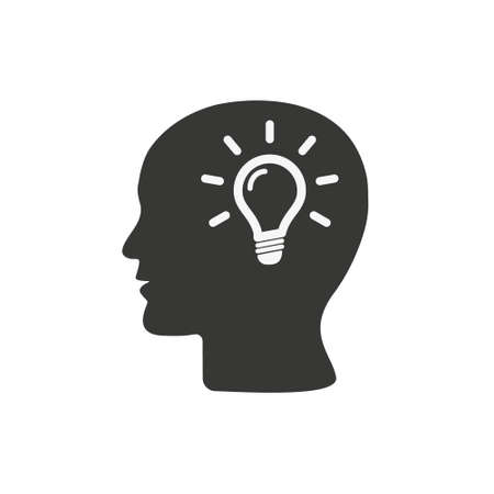 Human head profile with light bulb symbol, creative idea concept simple black icon, vector illustration isolated on white background. Eps 10. Illustration