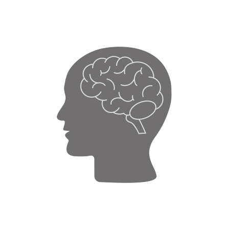 Human head profile with brain symbol, simple black icon, vector illustration isolated on white background. Eps 10  イラスト・ベクター素材
