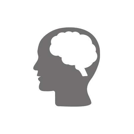 Human head profile with brain symbol, simple black icon, vector illustration isolated on white background. Eps 10 Ilustrace