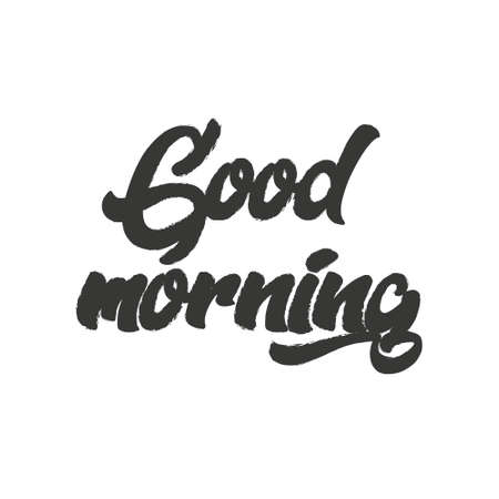 Good Morning lettering. Calligraphy good morning. Inscription handwriting Good morning. Vector illustration of a phrase good morning in English. Ilustrace