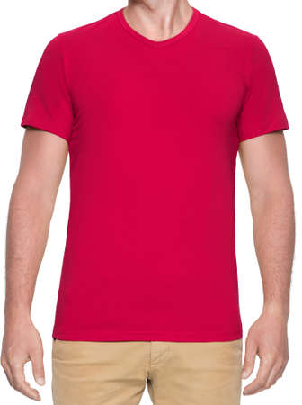 Close up of man in red shirt on white background. Reklamní fotografie