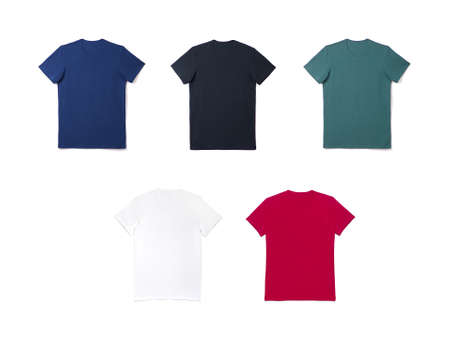 Mockup of a template of a color mens t-shirts on a white background Reklamní fotografie