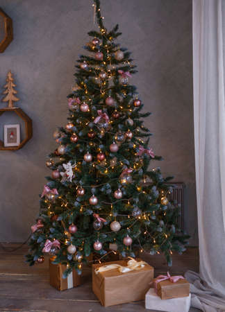 Beautiful holdiay decorated room with Christmas tree.