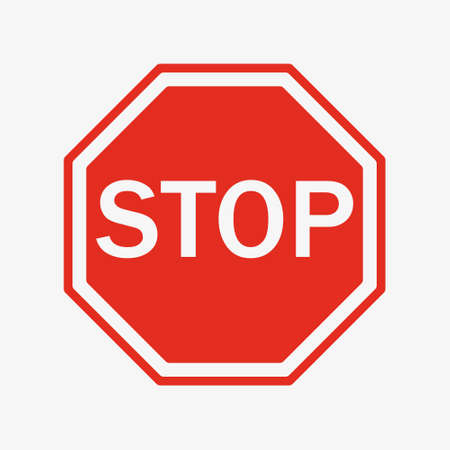 Vector Stop Sign Icon. flat style. red stop sign for your web site design, logo, app, UI. stop traffic symbol. traffic regulatory warning stop symbol.