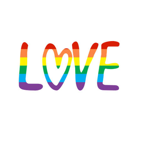 Love phrase. Love lettering vector for background, Vector hand drawn illustration with brush painted word Love and curly heart shape. Valentines Day LGBTQ related symbol in rainbow colors. 免版税图像 - 140288261