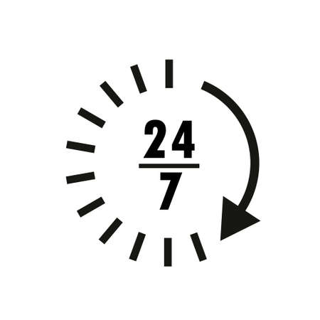 Time icon. Time and watch, timer symbol. UI. Web. Clock sign. 24 hours time icon. Watch symbol. Classic flat style. Simple 24 hours icon. Vector Ilustrace