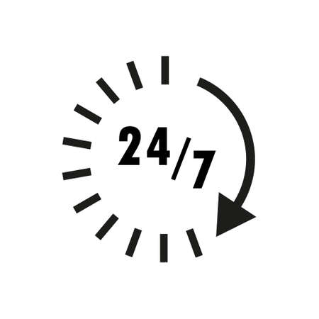 Time icon. Time and watch, timer symbol. UI. Web. Clock sign. 24 hours time icon. Watch symbol. Classic flat style. Simple 24 hours icon. Vector Çizim