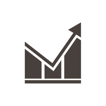 Vector growing graph icon. Financial Report vector icon. White background.