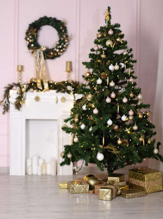 Beautiful holdiay decorated room with Christmas tree