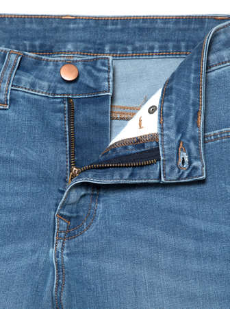 Save Download Preview Blue jeans with zipper. Denim jeans texture or denim jeans background Stock Photo