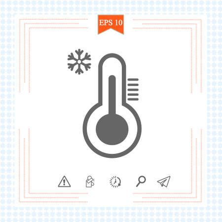 Thermometer icon. Cold weather thermometer icon vector illustration on white background. Flat web design element for website, app or infographics materials 免版税图像