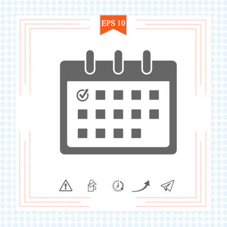 Calendar icon with check mark. Graphic elements for your design. Calendar on the wall. Vector illustration. EPS 10