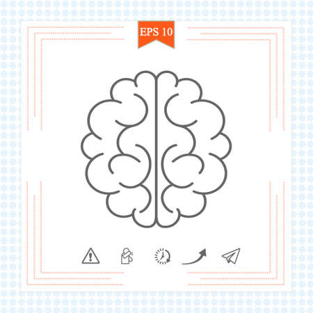 Brain icon  on white background. Brain icon in trendy design style. Brain vector icon modern and simple flat symbol for web site, mobile, logo, app, UI. Brain icon vector illustration, . 免版税图像