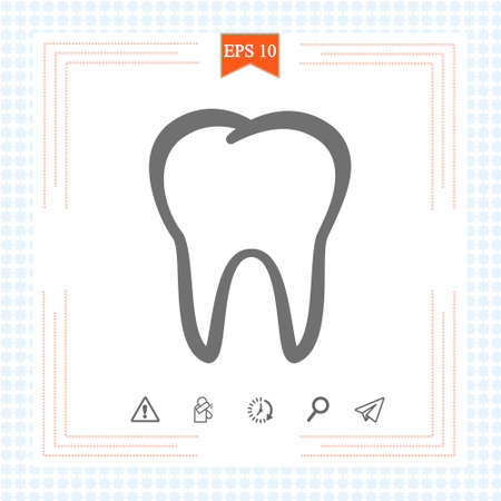 Outline tooth icon vector illustration on white background.
