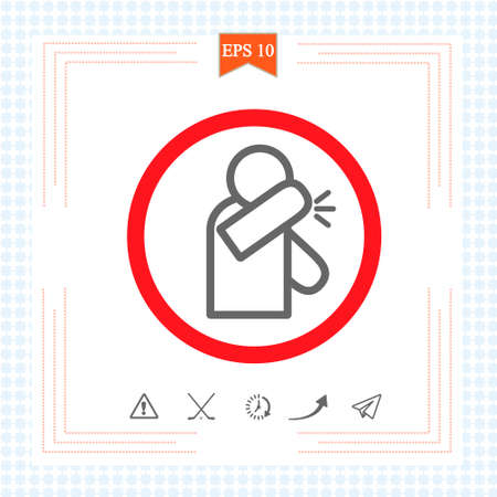 Sneeze into elbow - infographic, icon. Warning prohibition sign in a red circle. eps 10.