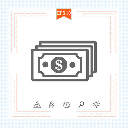 Money banknotes stack with dollar cash icon, money payment, dollar sign. Eps 10