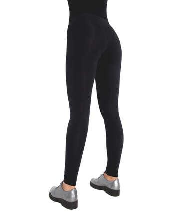 Woman wear black blank leggings mockup Women in clear leggins template. Sport pantaloons stretch tights model wearing. Slim legs in apparel.