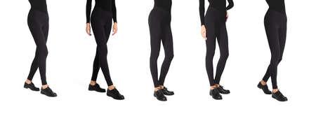 Set woman wear black blank leggings mockup . Women in clear leggins template. Sport pantaloons stretch tights model wearing. Slim legs in apparel.
