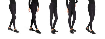 Set  woman wear black blank leggings mockup . Women in clear leggins template. Sport pantaloons stretch tights model wearing. Slim legs in apparel. 免版税图像