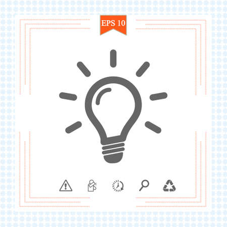Light bulb icon isolated on white. Line vector icon. Light bulb sign in flat style. Idea Bulb images, Lighting lamp in black. Light bulb as sign solution, idea, thinking concept. Eps 10 矢量图像