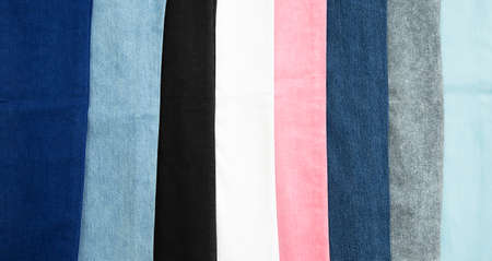 jeans 6 different colors, the background of clothing, jeans. 免版税图像