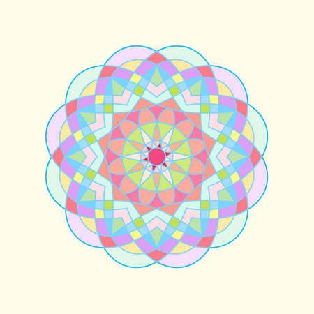 Colorful circular geometric ornament. Vector oriental mandala design. 矢量图像
