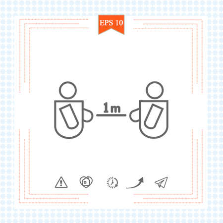 Keeping a Distance Vector Sign. 1 meter Rule. Social Distancing Vector Icon. Social Distancing Campaign. Design Showing 1 meter Distance from Each Other. Physical Distancing.