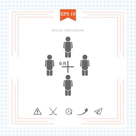 Keeping a Distance Vector Sign.6 feet Rule. Social Distancing Vector Icon. Social Distancing Campaign. Design Showing 6 feet Distance from Each Other. Physical Distancing. 矢量图像