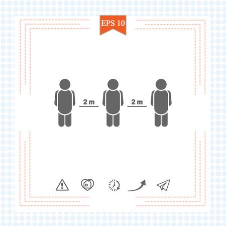 Keeping a Distance Vector Sign. 2 meters. Social Distancing Vector Icon. Social Distancing Campaign. Design Showing 2 meters Distance from Each Other. Physical Distancing. 矢量图像