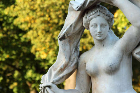 Antique stone statue of the goddess Galatea in the Catherine park, Pushkin, St. Petersburg