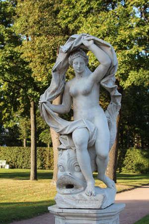 Antique stone statue of the goddess Galatea in the Ekatherine park, Pushkin, St. Petersburg Editorial