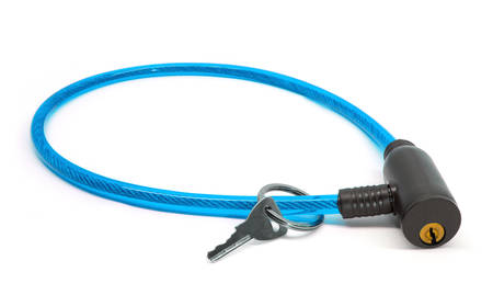 Blue bike and bicycle cable lock with key isolated on white background