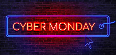 Cyber Monday sale neon sign. Brick wall as a background. Seasonal sale, shopping and store concept
