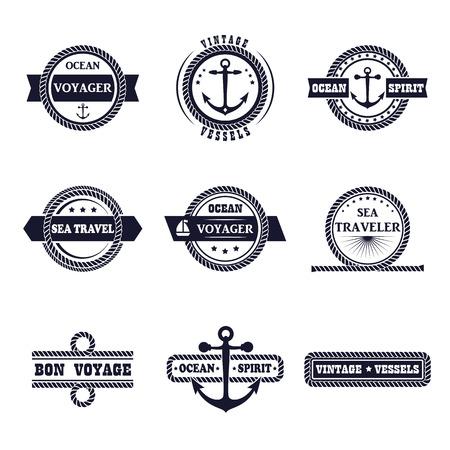 marinero: conjunto de etiquetas de estilo marinos. Diseño de la muestra náutica. Océano etiqueta de la tipografía, icono cuerda, marinero de placas. elementos de cruceros de mar aislado. colección de símbolos. Modelo del asunto.