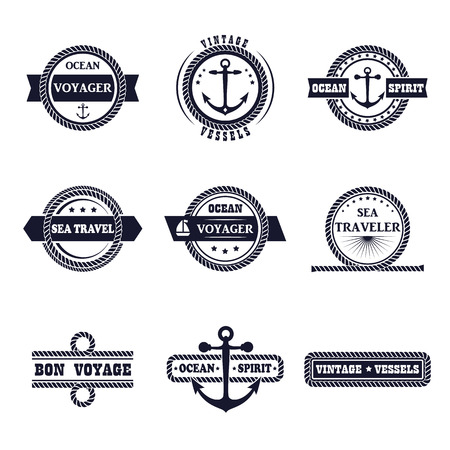 set of marine style labels. Design nautical sign. Ocean typography tag, rope icon, sailor badge. Sea cruise elements isolated. Symbol collection. Business template. Illustration