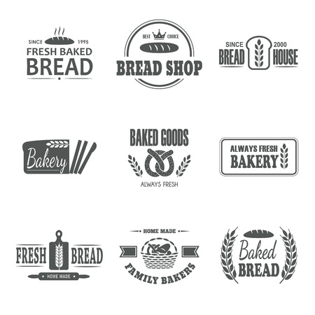 vintage cafe: Set of nine bakery vector emblem. Fresh bread label. Family bakers badge. Logo design. Business sign. Shop symbol. Baked goods sticker.