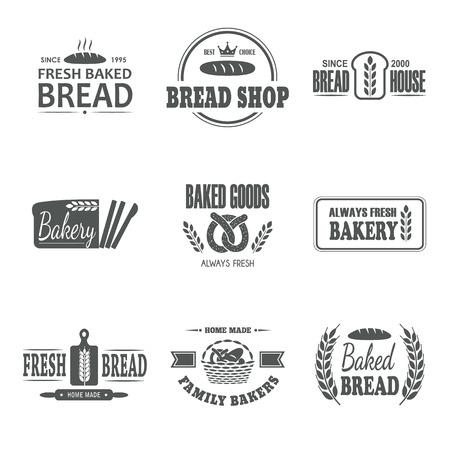 baked goods: Set of nine bakery vector emblem. Fresh bread label. Family bakers badge. Logo design. Business sign. Shop symbol. Baked goods sticker.