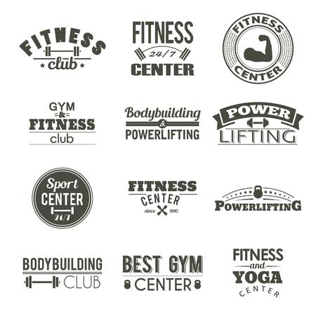 logo batiment: Ensemble de douze étiquettes de conditionnement physique. signe de conception de Gym. Workout autocollant vintage. Athletic tag typographie. Sport vie logo. Body logo de formation.