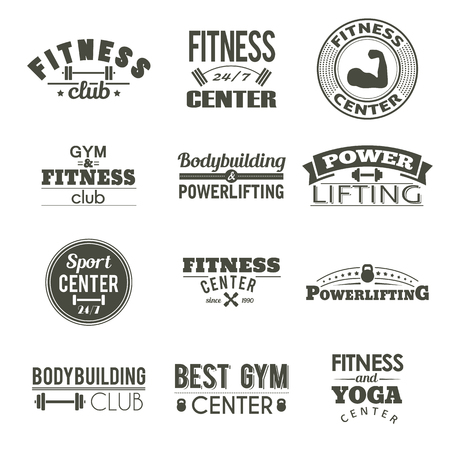 Set of twelve fitness labels. Gym design sign. Workout vintage sticker. Athletic typography tag. Sport life logo. Body training logo.