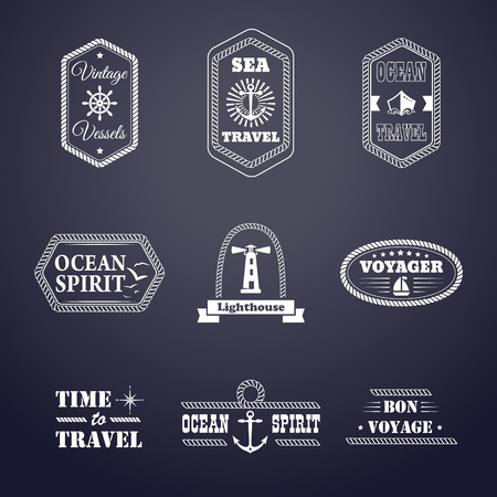rope: Vector set of marine style labels. Design nautical sign. Ocean typography tag, rope logo, sailor badge. Sea cruise elements isolated. Symbol collection. Business template.