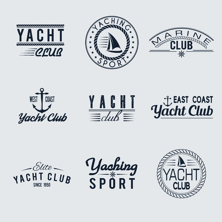 club: Vector set of yacht club style labels. Design nautical sign. Typography marine tag, logo, badge. Travel elements isolated. Sailor symbol collection. Ocean business template.