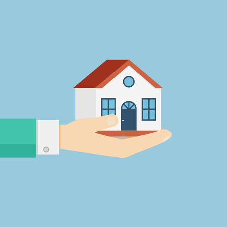 hand holding house: Hand holding house. illustration in flat style