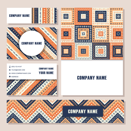 african business: Vector tribal aztec banners. Ethnic tribal borders. Tribal cards isolated. Boho folk navajo frames. Tribal design. Geometric tribal background