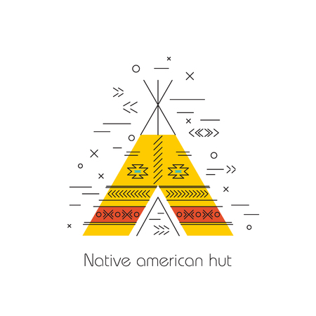 Native american vector element concept. Tribal line design. Indian symbol set isolated. Culture sign. Wigwam, hut